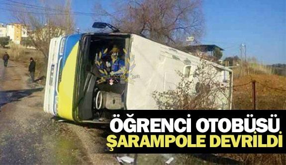 Öğrenci otobüsü şarampole devrildi