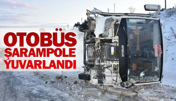 Otobüs şarampole yuvarlandı