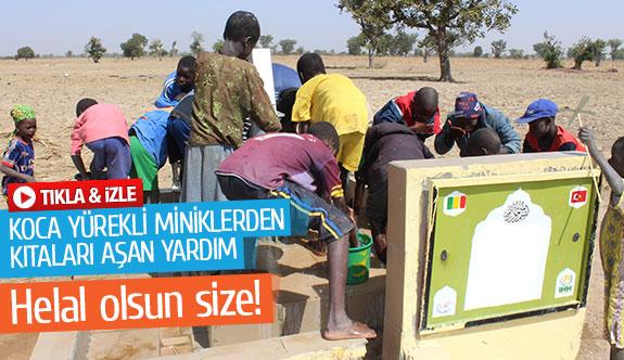 Koca yürekli miniklerden kıtaları aşan yardım