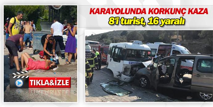 Karayolunda korkunç kaza 16 yaralı