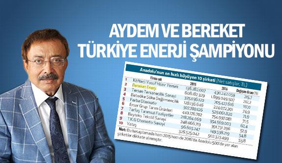Aydem ve Bereket Türkiye enerji şampiyonu