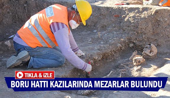 Boru hattı kazılarında mezarlar bulundu