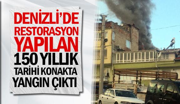 Denizli'de restorasyon yapılan 150 yıllık tarihi konakta yangın çıktı