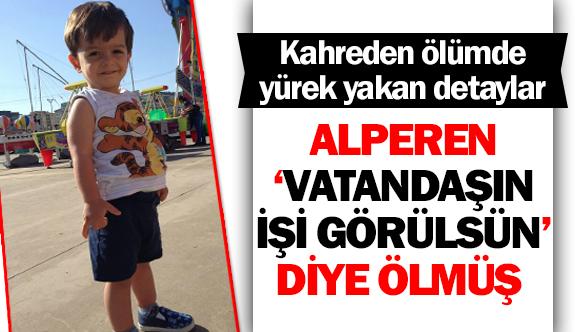 Minik Alperen 'Vatandaşın işi görülsün' diye ölmüş