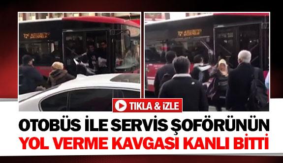 Otobüs ile servis şoförünün yol verme kavgası kanlı bitti