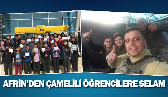 Afrin'den Çamelili öğrencilere selam