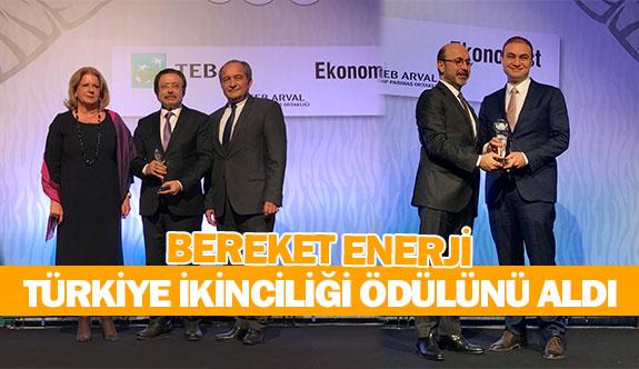 Bereket Enerji Türkiye ikinciliği ödülünü aldı