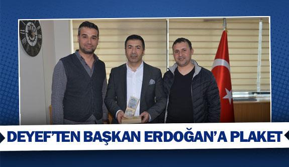 DEYEF'ten Başkan Erdoğan'a plaket