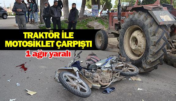 Traktör ile motosiklet çarpıştı