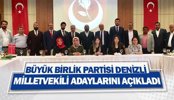 Büyük Birlik Partisi Denizli milletvekili adaylarını açıkladı