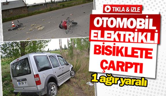 Otomobil elektrikli bisiklete çarptı