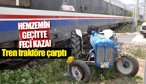 Tren traktöre çarptı