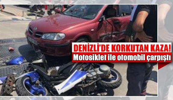 Denizli'de motosiklet ile otomobil çarpıştı