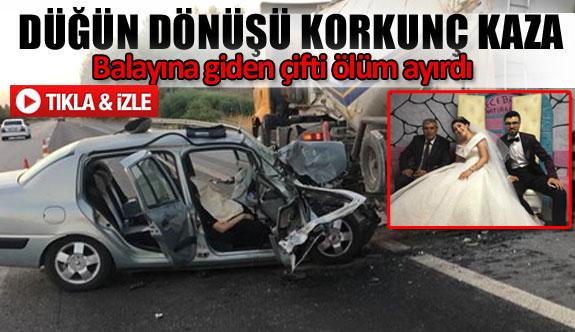 Düğün dönüşü korkunç kaza 1 ölü 3 yaralı