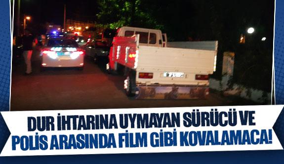 Dur ihtarına uymayan sürücü ve polis arasında film gibi kovalamaca!