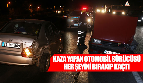 Kaza yapan otomobil sürücüsü her şeyini bırakıp kaçtı