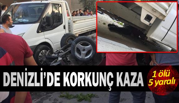 Denizli'de kavşakta korkunç kaza 1 ölü 5 yaralı