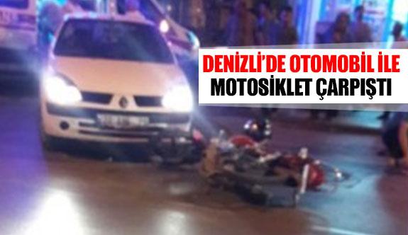 Denizli'de otomobil ile motosiklet çarpıştı