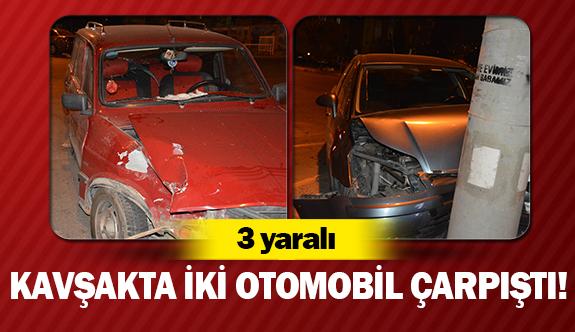 Kavşakta iki otomobil çarpıştı!
