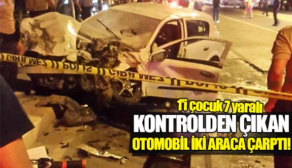 Kontrolden çıkan otomobil iki araca çarptı!