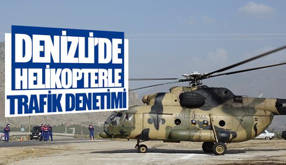 Denizli'de helikopterle trafik denetimi