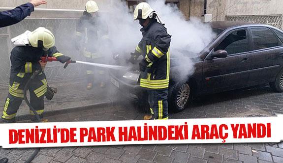 Denizli'de park halindeki araç yandı