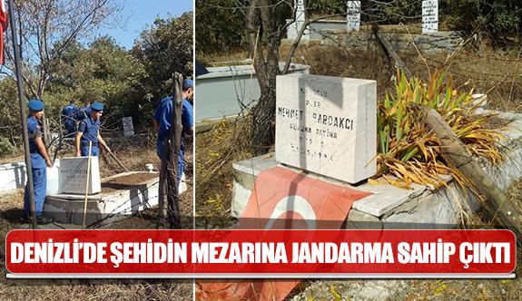 Denizli'de şehidin mezarına jandarma sahip çıktı