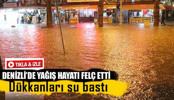Denizli'de yağış hayatı felç etti
