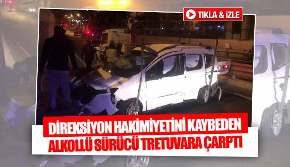 Direksiyon hakimiyetini kaybeden alkollü sürücü kaldırıma çarptı