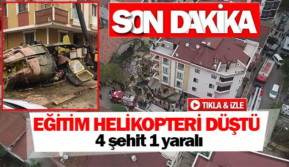 Eğitim helikopteri düştü 4 şehit