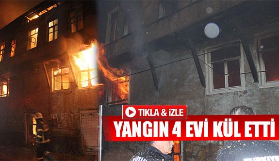 Yangın 4 evi kül etti
