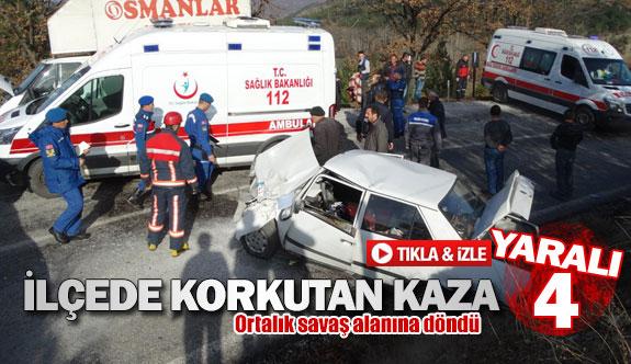 İlçede korkutan kaza 4 yaralı