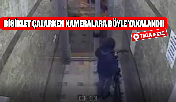 Bisiklet çalarken kameralara böyle yakalandı!