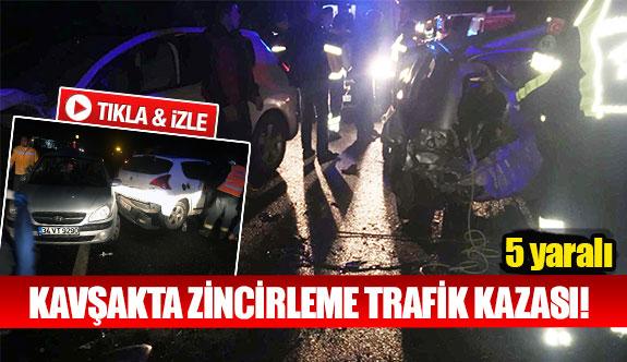Kavşakta zincirleme trafik kazası!