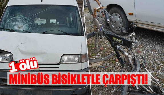 Minibüs bisikletle çarpıştı!