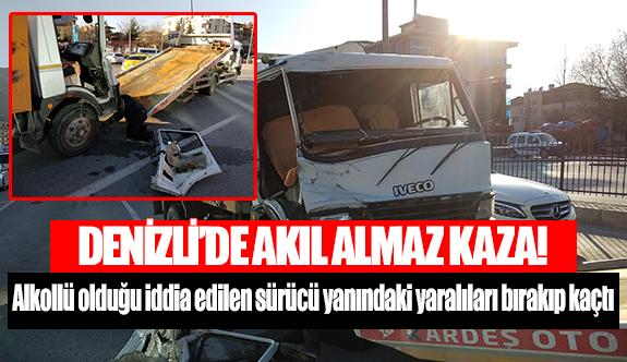 Denizli'de Alkollü olduğu iddia edilen sürücü yanındaki yaralıları bırakıp kaçtı