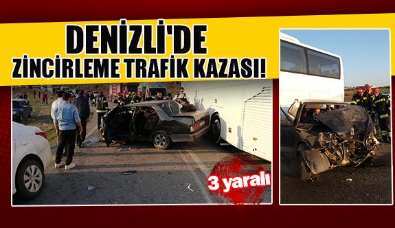 Denizli'de zincirleme trafik kazası!