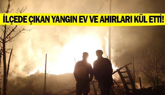 İlçede çıkan yangın ev ve ahırları kül etti!