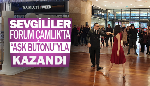 """Sevgililer Forum Çamlık'ta """"aşk butonu""""yla Kazandı"""