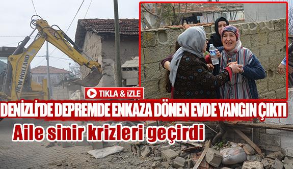Denizli'dedepremde enkaza dönen evde yangın çıktı