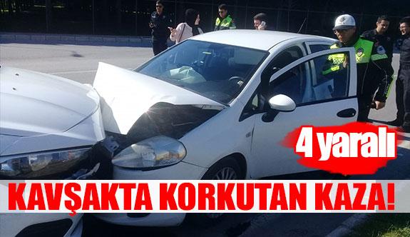 Kavşakta korkutan kaza!  4 yaralı