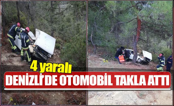 Denizli'de otomobil takla attı 4 yaralı