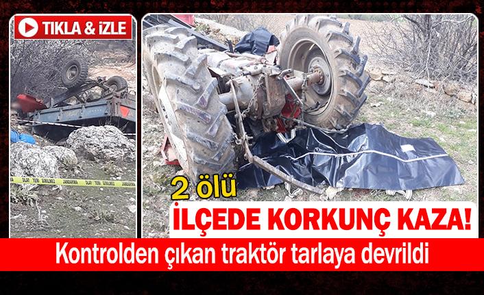 Kontrolden çıkan traktör tarlaya devrildi
