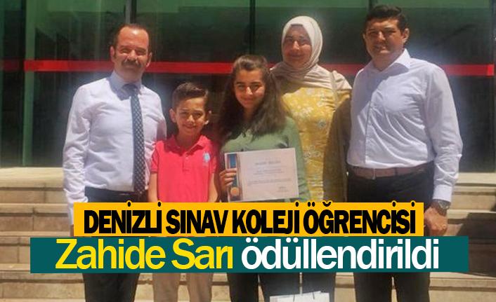 Denizli Sınav Koleji öğrencisi Zahide Sarı ödüllendirildi
