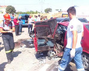 Trafik kazası 1 ölü 6 yaralı