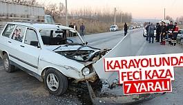 Karayolunda feci kaza 7 yaralı
