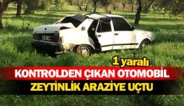 Kontrolden çıkan otomobil zeytinlik araziye uçtu