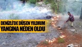 Denizli'de düşen yıldırım yangına neden oldu