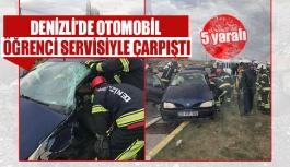 Denizli'de otomobil öğrenci servisiyle çarpıştı