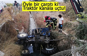 Traktör kanala uçtu!